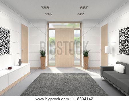 modern foyer front door interior