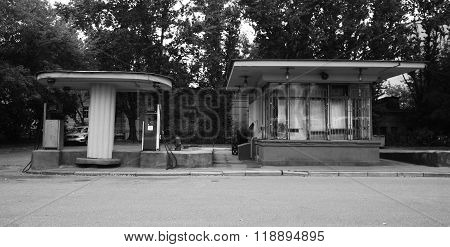 Old gas station in Mosow Russia