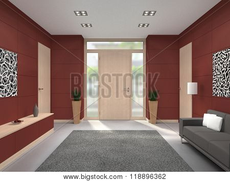 modern lobby interior with front door