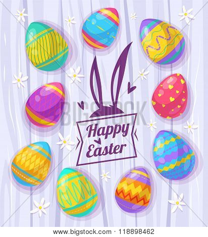 Set of Easter eggs. Vector cute illustration