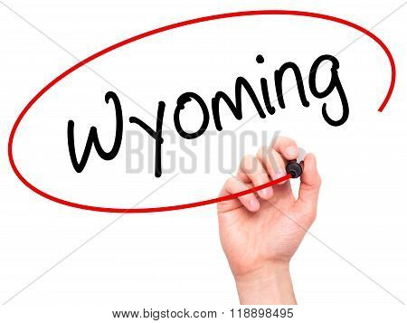 Man Hand Writing Wyoming  With Black Marker On Visual Screen