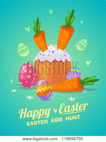 Set of Easter food. Vector cute cartoons