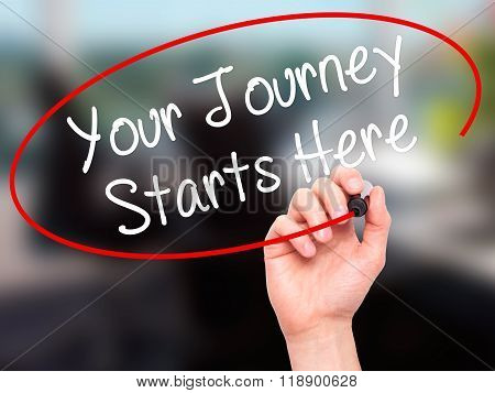 Man Hand Writing Your Journey Starts Here With Black Marker On Visual Screen