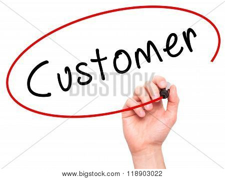 Man Hand Writing Customer With Marker On Transparent Wipe Board