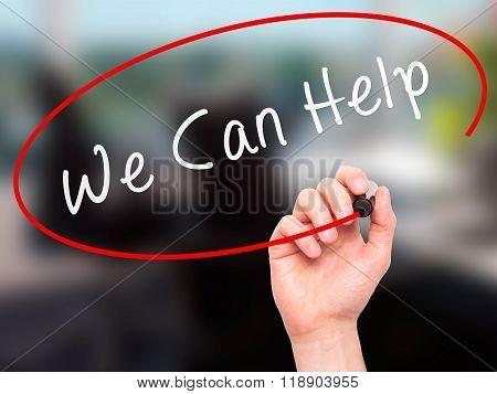 Man Hand Writing We Can Help On Visual Screen