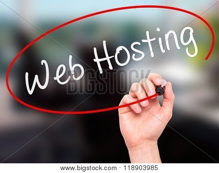 Man Hand Writing Web Hosting With Marker On Transparent Wipe Board