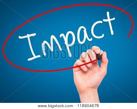 Man Hand Writing Impact With Marker On Transparent Wipe Board