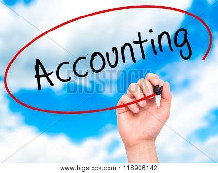 Man Hand Writing Accounting With Marker On Transparent Wipe Board