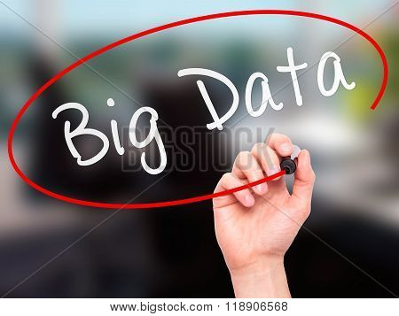 Man Hand Writing Big Data With Marker On Transparent Wipe Board