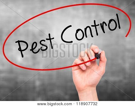 Man Hand Writing Pest Control With Marker On Transparent Wipe Board