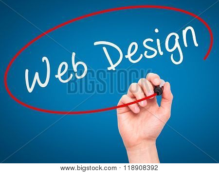 Man Hand Writing Web Design With Marker On Transparent Wipe Board