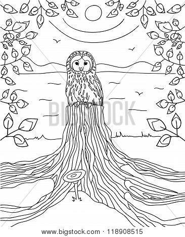 Thoughtful owl sitting on the stump river is in the background with frame made of branches with leav
