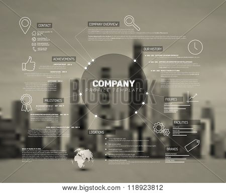 Vector Company infographic overview design template with city photo in the back