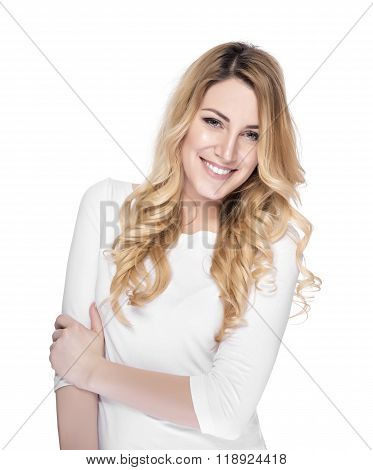 Portrait of smiling woman blond.