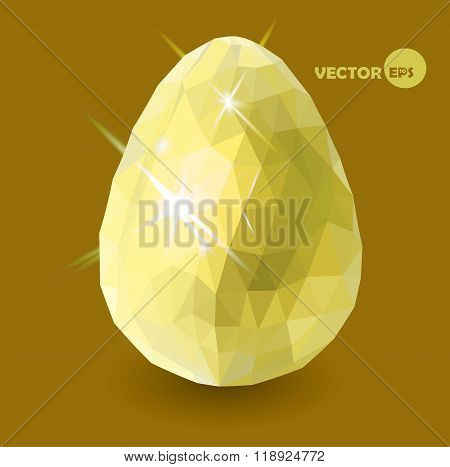Golden easter egg on the gold background. Happy Easter, religion traditional. Easter vector backgrou