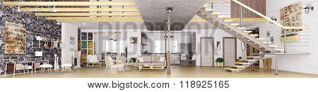 Panorama Of Loft Apartment Interior 3D Rendering