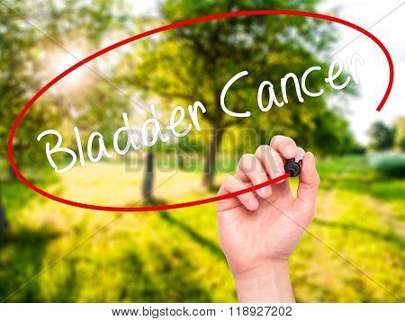 Man Hand Writing Bladder Cancer With Black Marker On Visual Screen