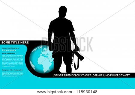 Vector photo background with black silhouette of a photographer and globe