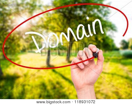 Man Hand Writing Domain With Black Marker On Visual Screen