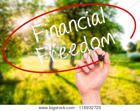 Man Hand Writing Financial Freedom With Black Marker On Visual Screen