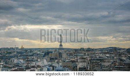 Eiffel tower at horizon in France