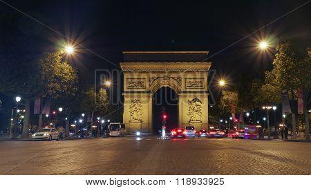 Arc de Triomphe, Paris illuminated at night