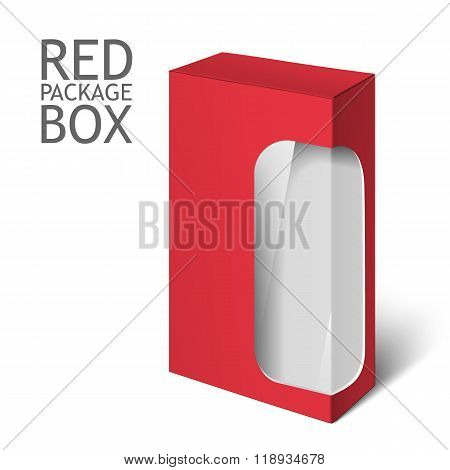 red realistic box. Mockup Template