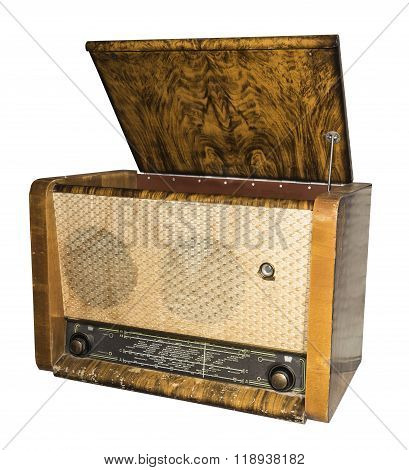 Radiogramophone (radio with the player) 1953. Russia.Is isolated on white