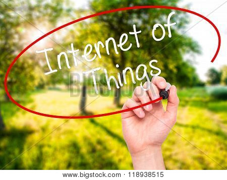 Man Hand Writing Internet Of Things With Black Marker On Visual Screen