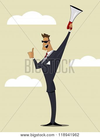 Abstract Businessman With Megaphone.