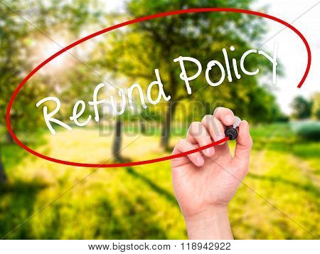 Man Hand Writing Refund Policy With Black Marker On Visual Screen