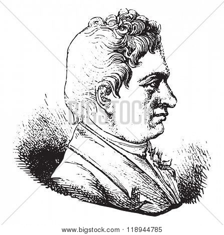 J B Say, On a medal after the hotel Museum of coins in Paris, vintage engraved illustration. Magasin Pittoresque 1878.