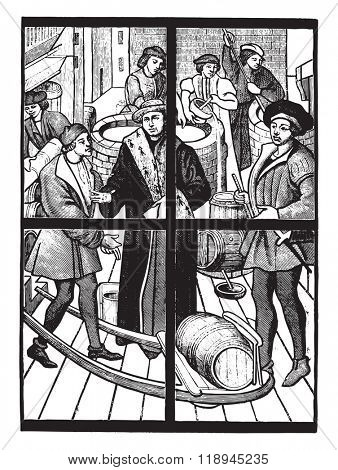 The Brewers, the fifteenth century stained glass in the cathedral of Tournai, vintage engraved illustration. Magasin Pittoresque 1880.