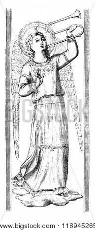 Angels by Fra Angelico, in the Uffizi Gallery in Florence, vintage engraved illustration. Magasin Pittoresque 1880.