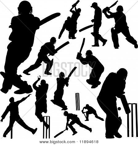 Cricket Players Collection 2 - Vector