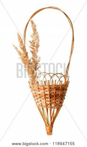 Dried Grass Panicles And Basket Composition