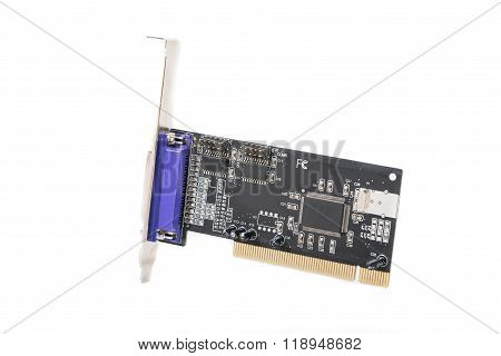 Electronic circuit board on white background. Black PCB