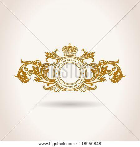 Vintage Decorative Elements Flourishes Calligraphic Ornament gold. Elegant emblem template monogram luxury frame. Royal line logo. Vector sign for restaurant, boutique, heraldic, cafe, hotel