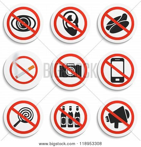 Set of 9 Prohibition Signs on White Round Plates. Prohibited No Symbols Vector Illustration. Round Prohibit Tokens poster