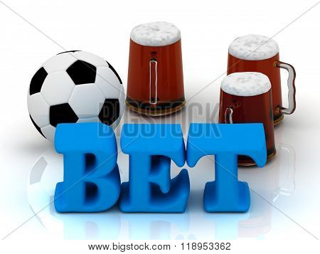 Bet Blue Bright Word, Football, 3 Cup Beer