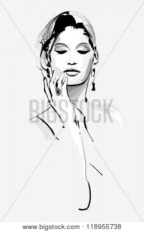 Drawing of a beautiful woman - vector illustration