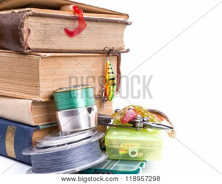 Outdoor Fishing Tackles And Baits With Books