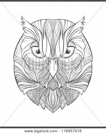 Bright, colorful print with the sketch owl. Adult coloring