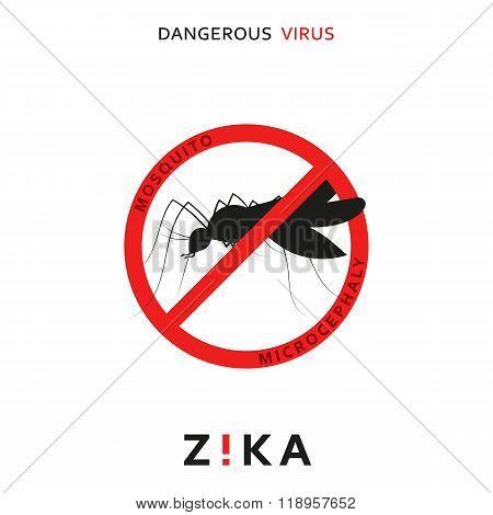 Stop zika. Dangerous virus. Caution virus threat. Mosquitoes infected with microcephaly. Mosquitoes are carriers dangerous diseases. Virus dangerous for pregnant women,  Illustration of danger warning poster