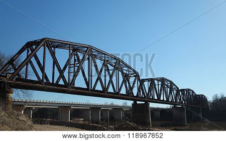 Steel Trestle Railroad Bridge Spans Red River