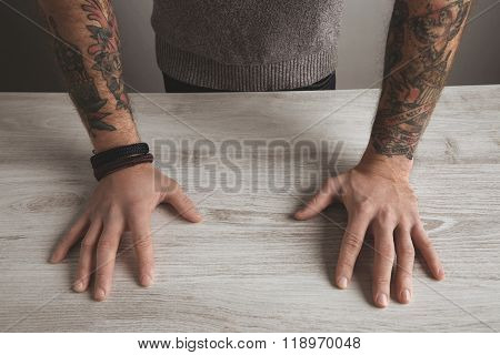 Close Unrecognizable Brutal Man Tattooed Hands Isolated