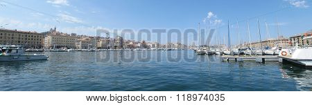 MARSEILLE - JUNE 16: A panorama image of a marina in Old Harbor in Marseille, France on 18 June 2015.