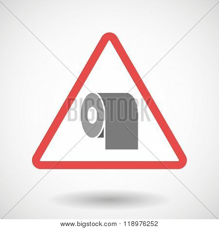 Warning Signal Icon With A Toilet Paper Roll
