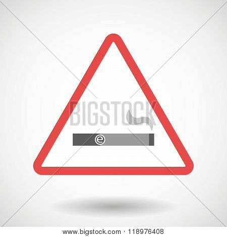 Illustration of a warning signal with an electronic cigarette poster