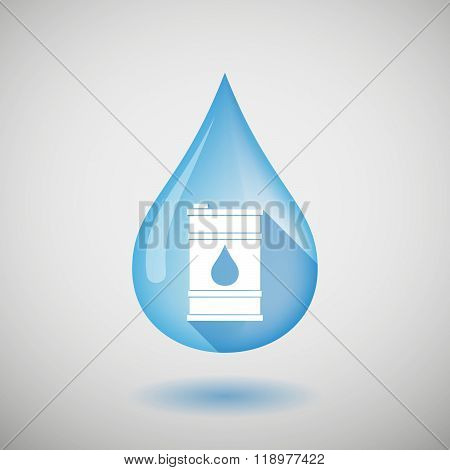 Long Shadow Water Drop Icon With A Barrel Of Oil